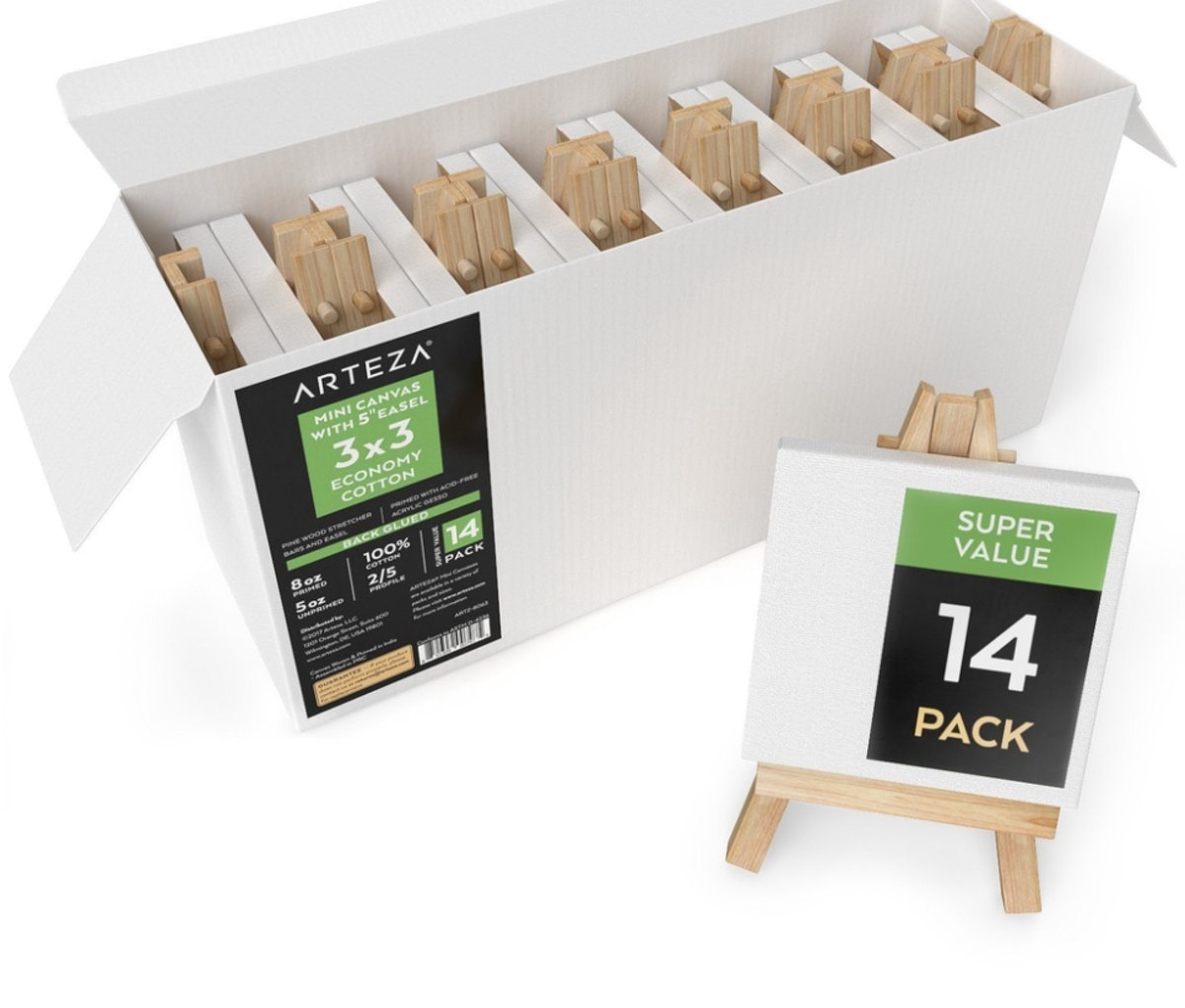 Mini Stretched Canvas, 3 x 3 in - Pack of 14