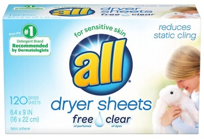 All Fabric Softener Dryer Sheets, 120-Count