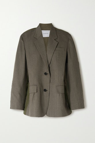 Paneled Prince of Wales Checked Wool-Blend and Cotton Blazer