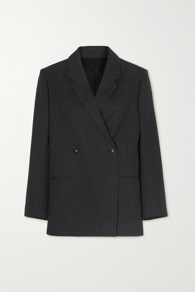 Loreo Double-Breasted Checked Wool-Tweed Blazer