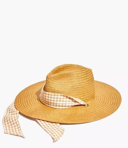 Gingham Tie Straw Hat