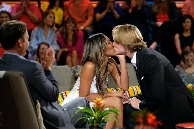 Tayshia Adams and John Paul Jones kiss during the Season 6 'Bachelor in Paradise' reunion. via ABC Press Site