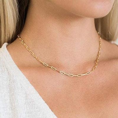 BOUTIQUELOVIN Paperclip Link Chain Necklace and Bracelet