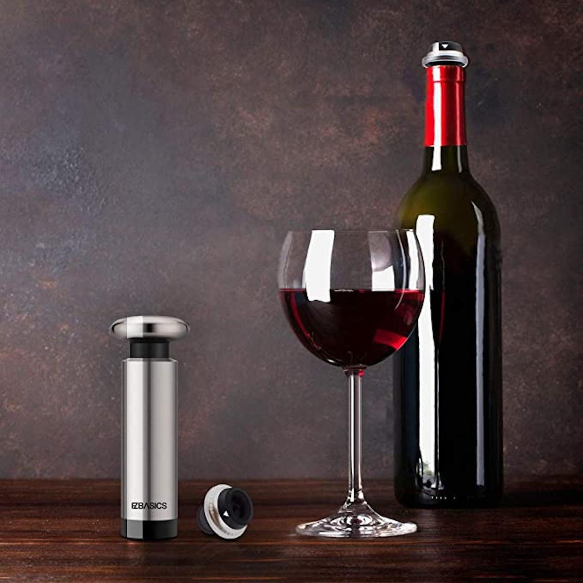 EZBASICS Wine Saver Vacuum Pump with 2 Wine Stoppers