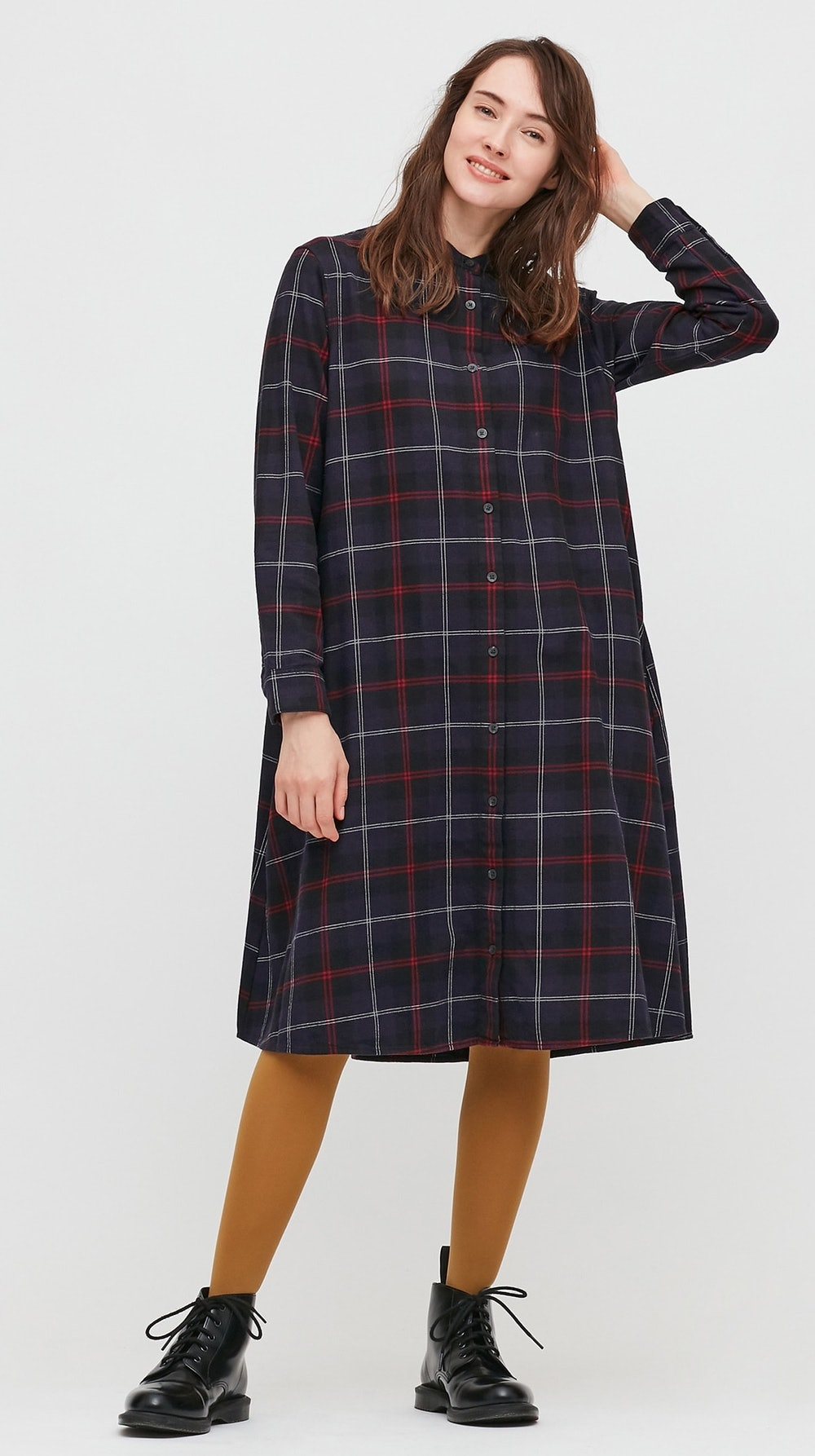 Women Flannel A-Line Long-Sleeve Dress