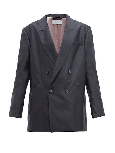 Double-Breasted Oversized Silk Blazer