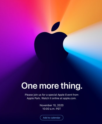 "Apple ""One More Thing"" Apple Silicon Mac event invitation"