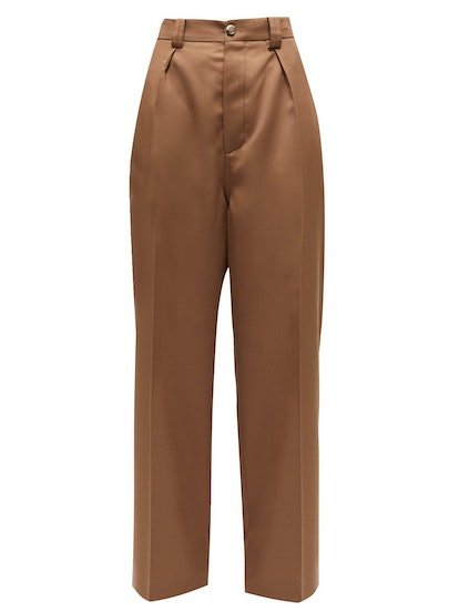 High-Rise Tailored Wool-Twill Trousers