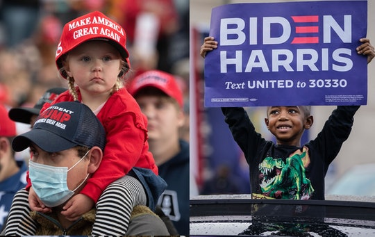 Two side by side photos show: RIGHT:  A child wearing a MAGA hat looks around at the crowd. She is sitting on her dad's shoulders.LEFT: A young Black boy stands with his upper body visible through the sun roof of a car. He is wearing a dinosaur shirt and holding a Biden Harris sigh high over his head.