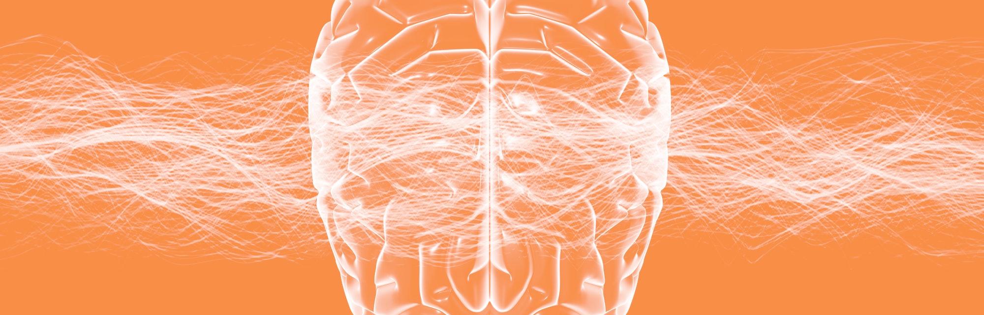 Brain and waves illustration.