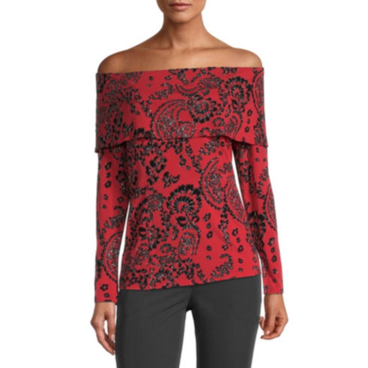 MSK Womens Straight Neck Long Sleeve Knit Blouse