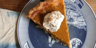 Slice of pumpkin pie.