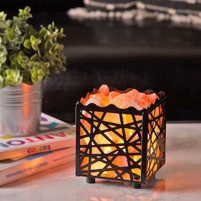 Crystal Decor Himalayan Pink Salt Lamp Basket