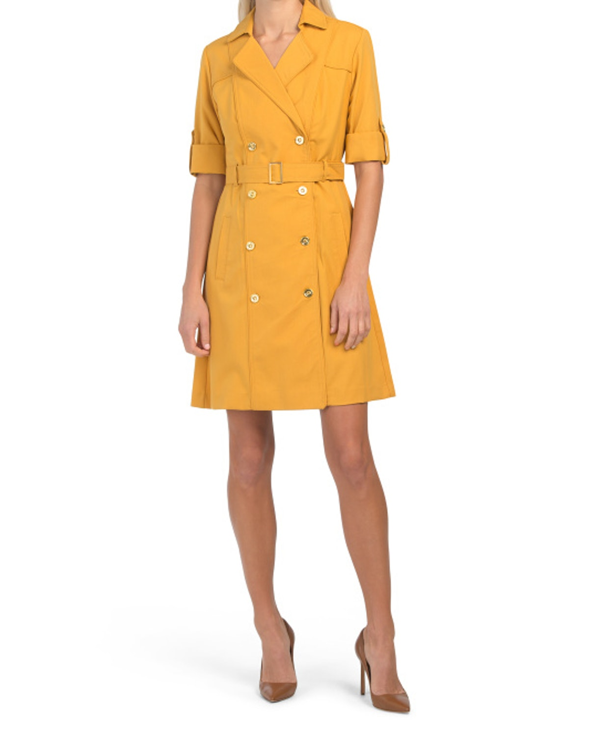 Sharagano Stretch Sharkskin Double Breasted Dress