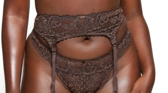Nude Floral Lace & Mesh Thong Dark Cocoa Curvy