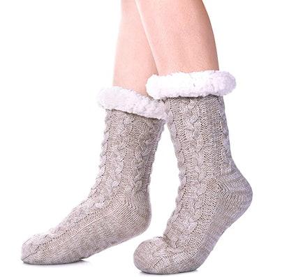 SDBING Warm Fuzzy Fleece-Lined Socks With Grippers