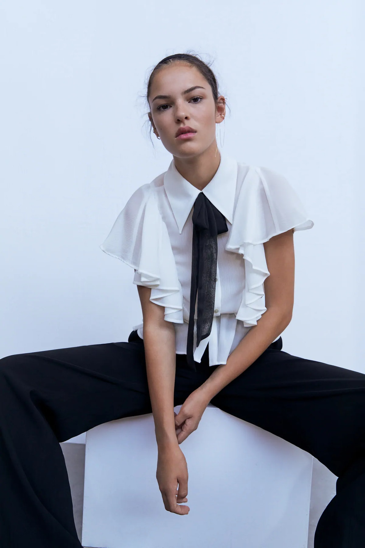 Ruffled Blouse with Bow