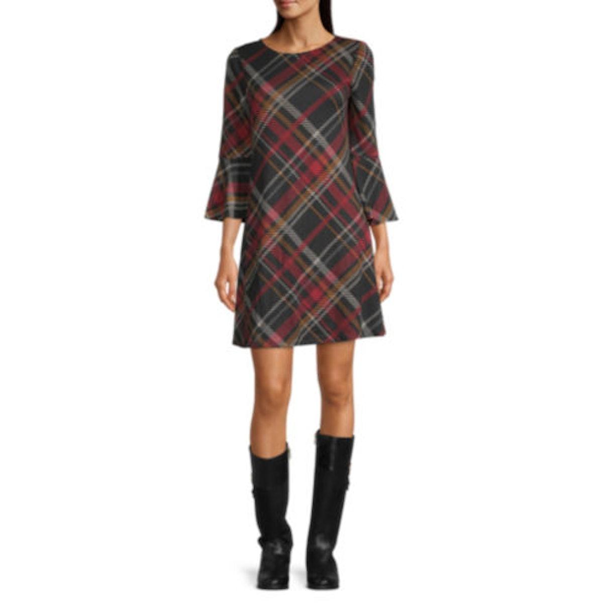Jessica Howard 3/4 Sleeve Plaid Shift Dress