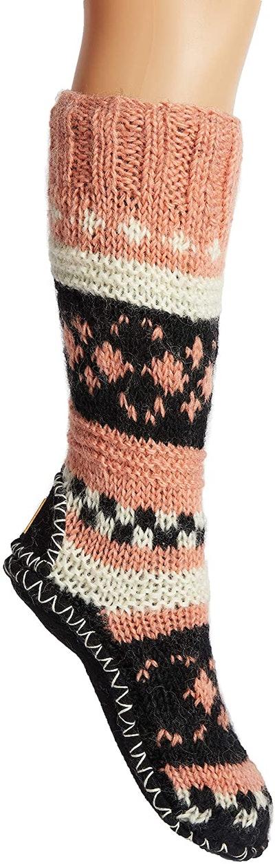 Tibetan Socks Hand Knit Wool Long Slipper Socks