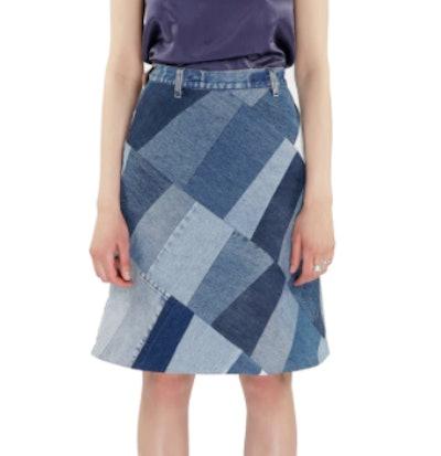 Patchwork Denim Midi Skirt