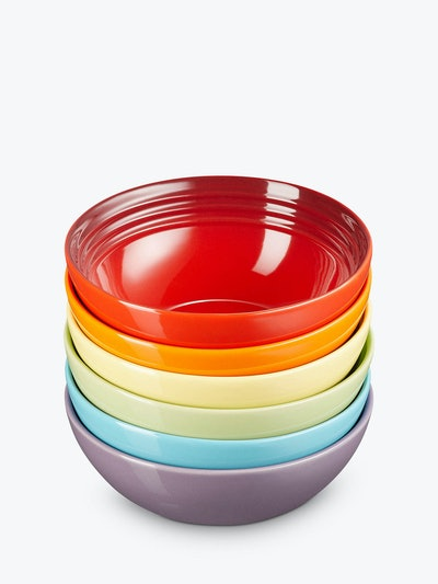 Le Creuset Stoneware Rainbow Cereal Bowls, Set of 6,