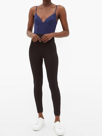 Ilona V-Neck Darted-Bodice Jersey Jumpsuit