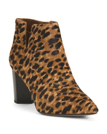 Franco Sarto Pointy Toe Printed Haircalf Boots