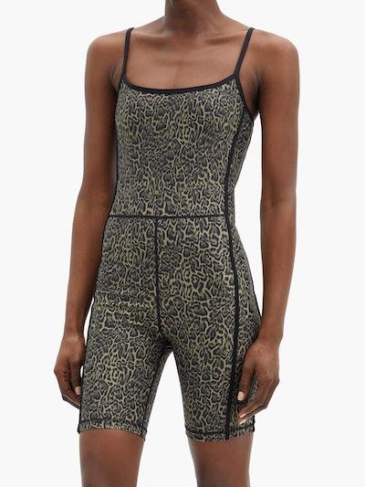 Leopard-Print Jersey Bodysuit