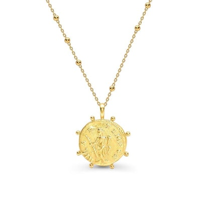 lucy williams gold beaded coin necklace