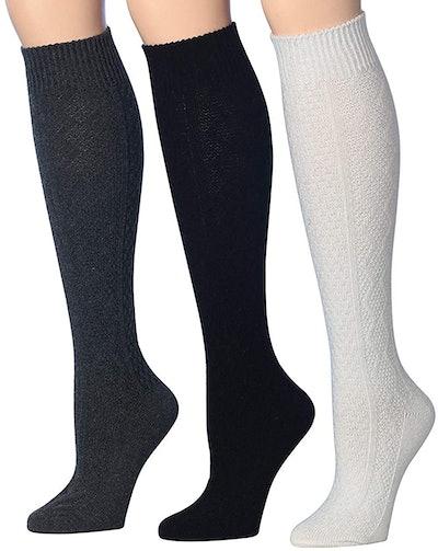 Tipi Toe Women's Knee-High Wool Boot Sock (3-Pack)