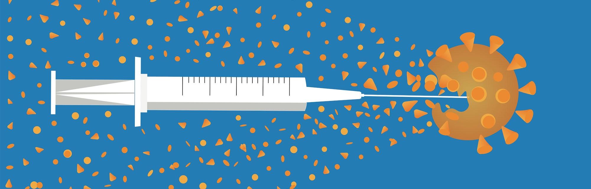 Covid-19 vaccine illustration concept.