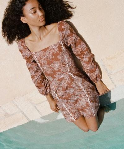 Mini Dress in Brown Coconut Tree