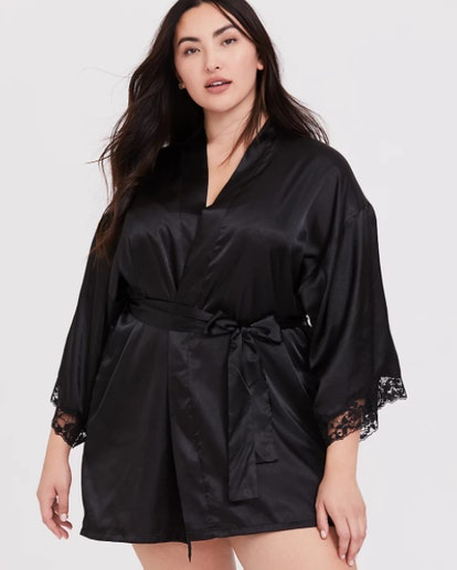 Black Satin & Lace Trim Self Tie Robe