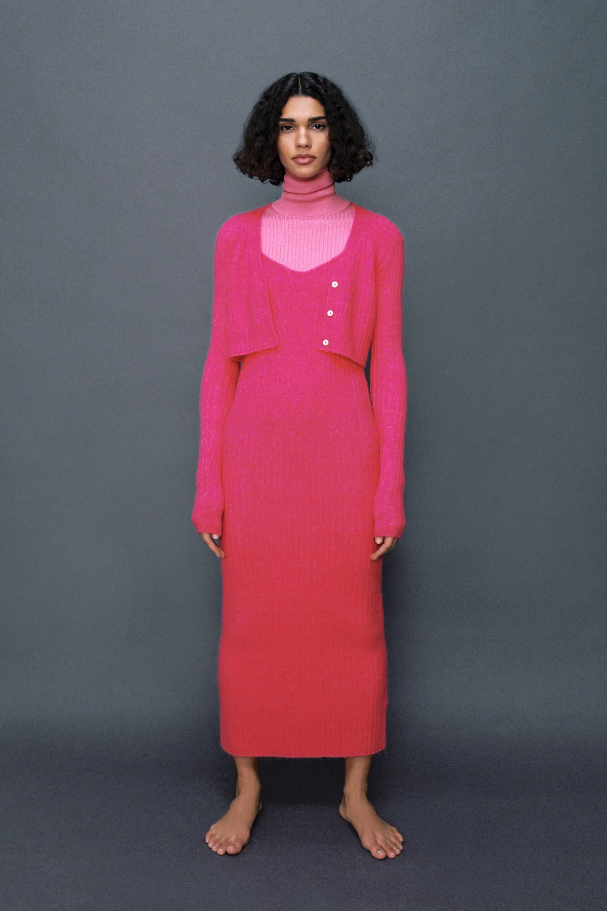 Ribbed Wool Blend Dress