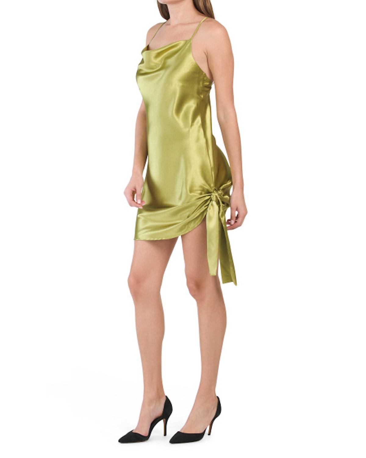 Moon River Metallic Cowl Neck Dress