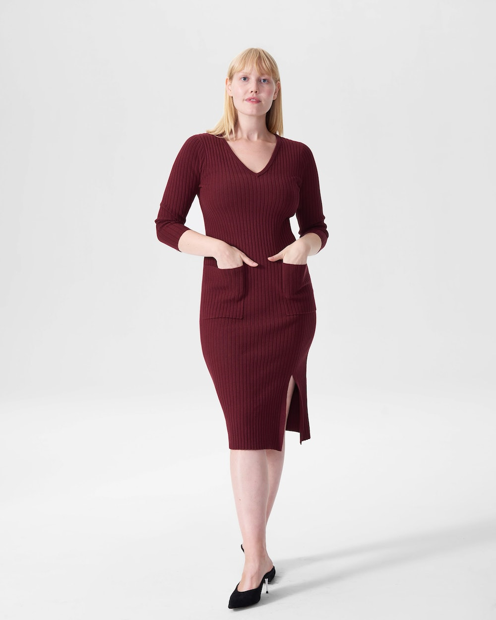 Rita Ribbed Sweater Dress With Pockets