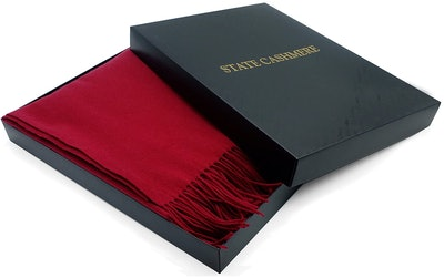State Cashmere 100% Pure Cashmere Fringe Throw Blanket