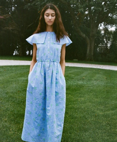 Embroidered Collared Dress in Blue