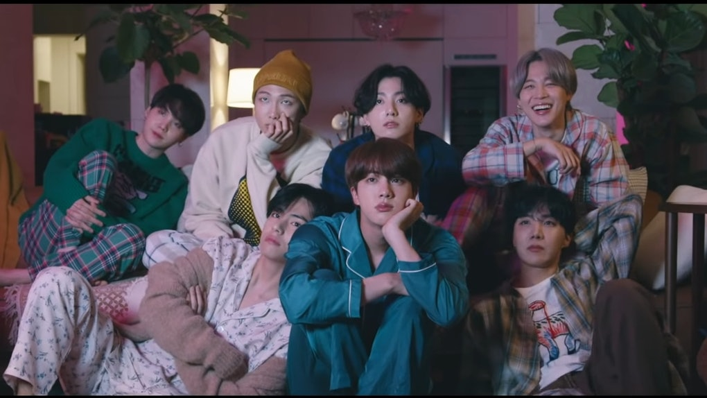 """A screenshot from BTS' """"Life Goes On"""" music video."""