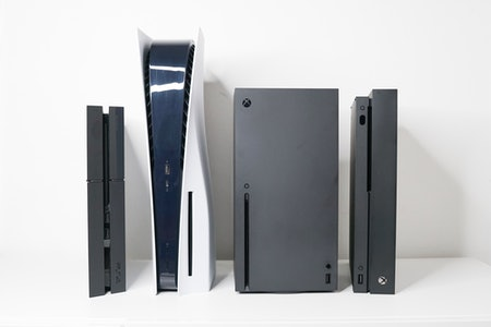 PlayStation 5 review: size comparison PS5 vs. PS4, Xbox Series X, and Xbox One X.
