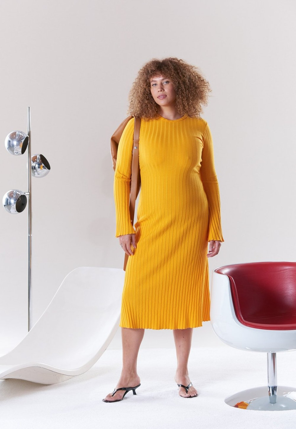 Rib Wells Long Sleeve Dress