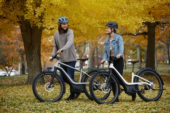Two people walking RUSH/CTY e-bikes in a park