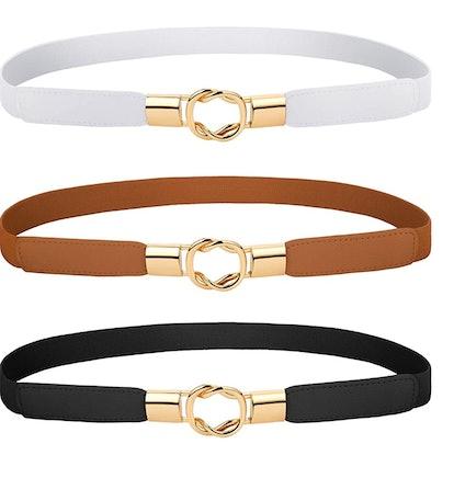 Blulu Women Skinny Waist Belt (3-Pack)