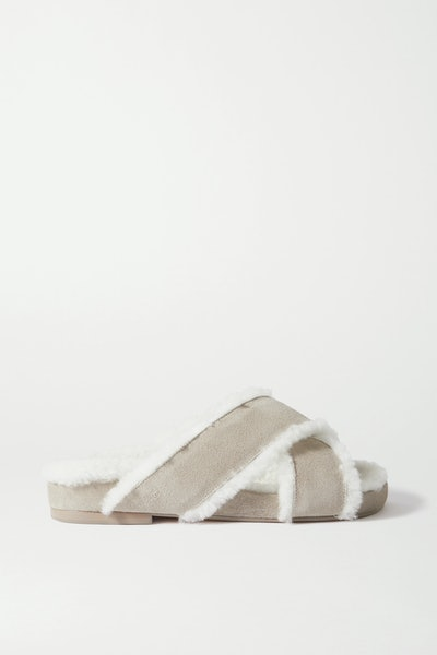 Shearling-Lined Suede Slides