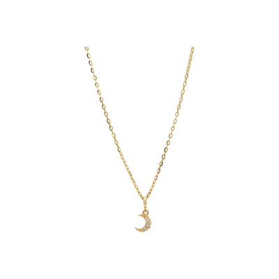 14K Gold Simple Moon Necklace with Diamonds