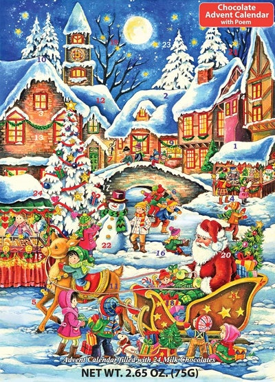 Vermont Christmas Company Santa's Here Chocolate Advent Calendar