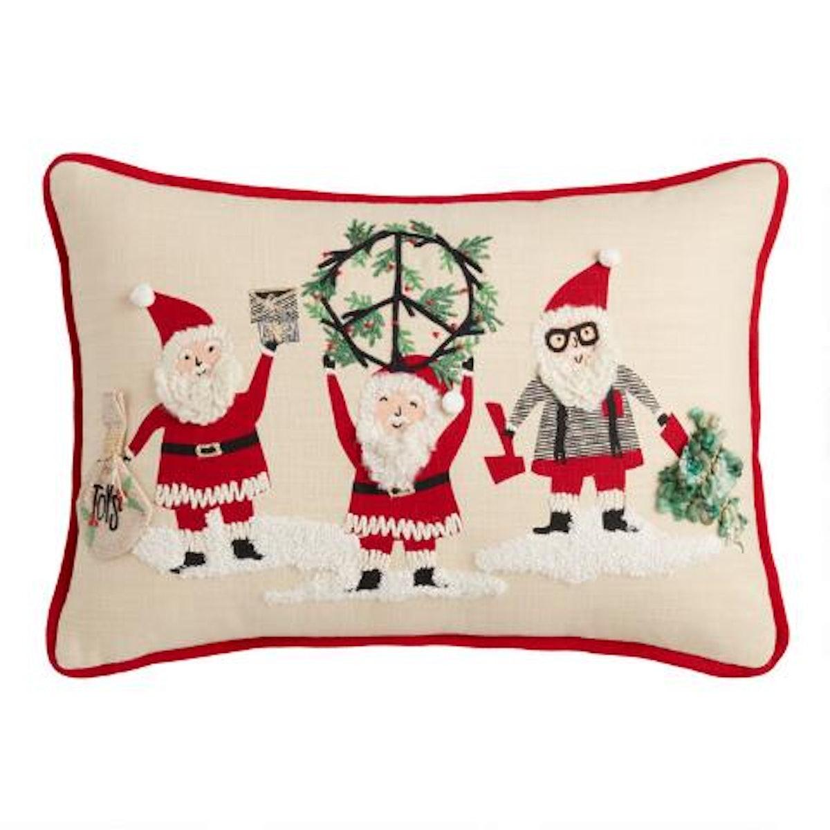 Peace Santas Embroidered Lumbar Pillow