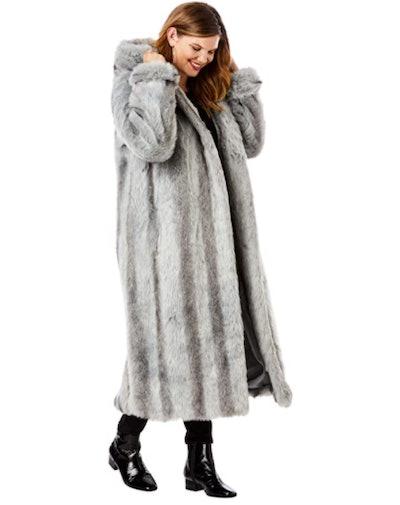 Roamans Plus Size Full Length Faux-Fur Coat with Hood