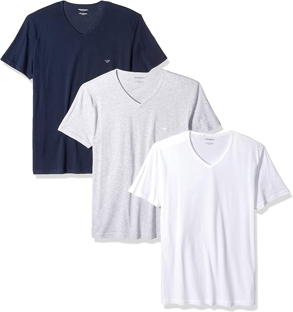 Emporio Armani Men's Regular Fit V-Neck Undershirt (3-Pack)