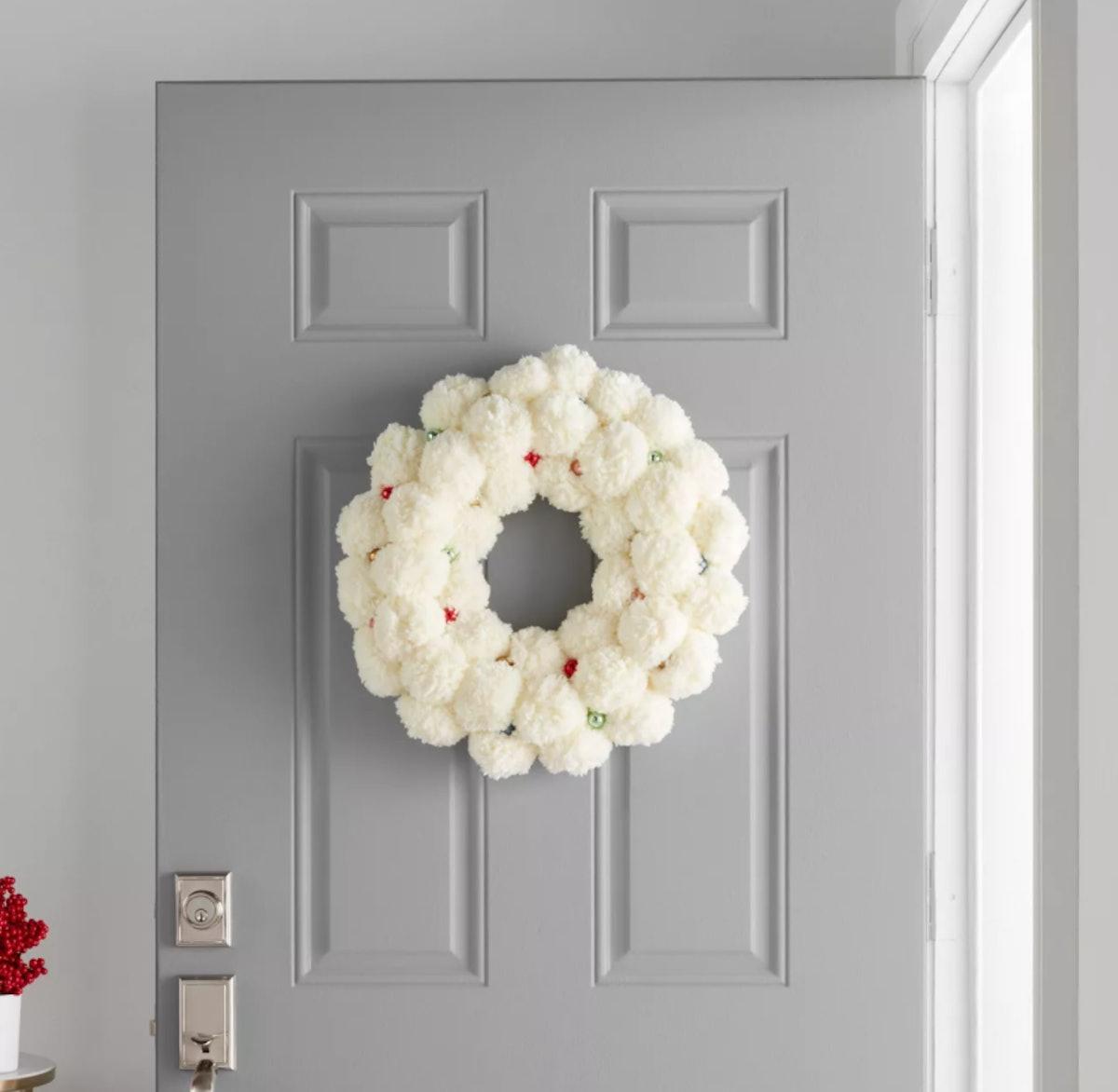 """19"""" Artificial Cream Pom Wreath White - Opalhouse™"""